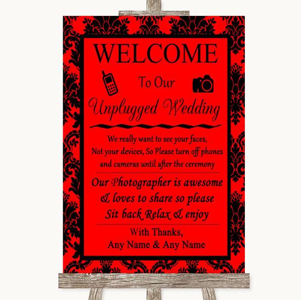 Red Damask No Phone Camera Unplugged Personalised Wedding Sign