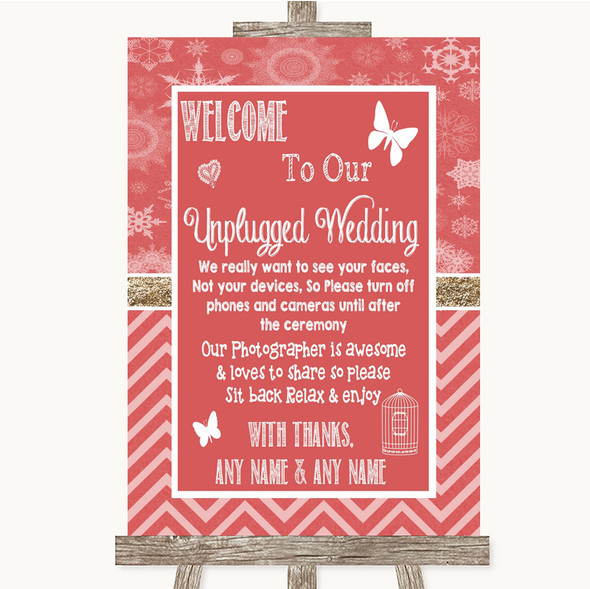 Red Winter No Phone Camera Unplugged Personalised Wedding Sign