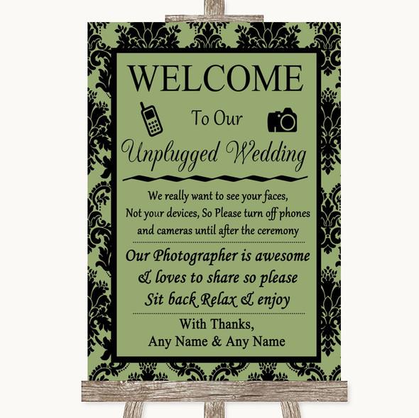 Sage Green Damask No Phone Camera Unplugged Personalised Wedding Sign