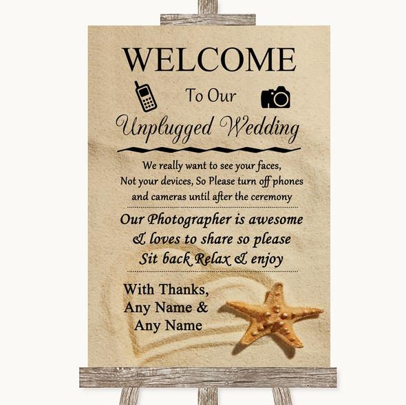 Sandy Beach No Phone Camera Unplugged Personalised Wedding Sign