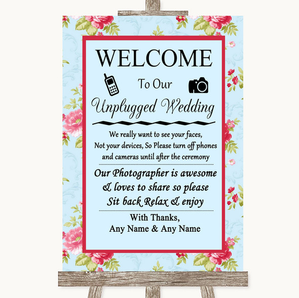 Shabby Chic Floral No Phone Camera Unplugged Personalised Wedding Sign