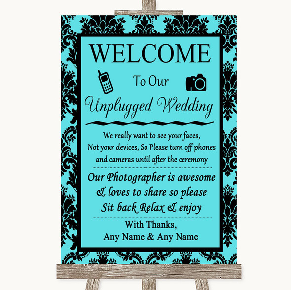 Tiffany Blue Damask No Phone Camera Unplugged Personalised Wedding Sign