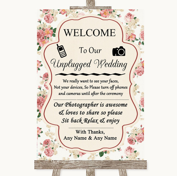 Vintage Roses No Phone Camera Unplugged Personalised Wedding Sign