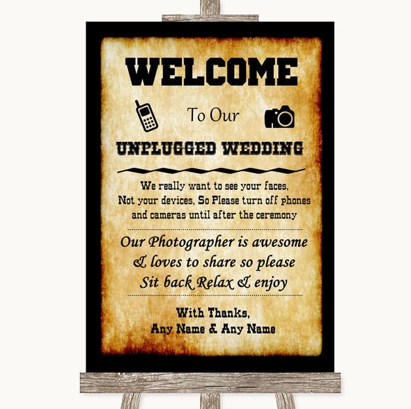 Western No Phone Camera Unplugged Personalised Wedding Sign