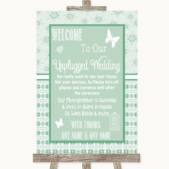 Winter Green No Phone Camera Unplugged Personalised Wedding Sign