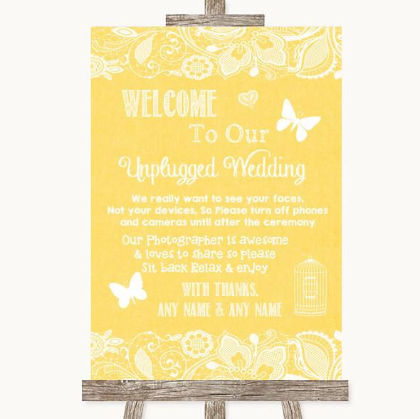 Yellow Burlap & Lace No Phone Camera Unplugged Personalised Wedding Sign