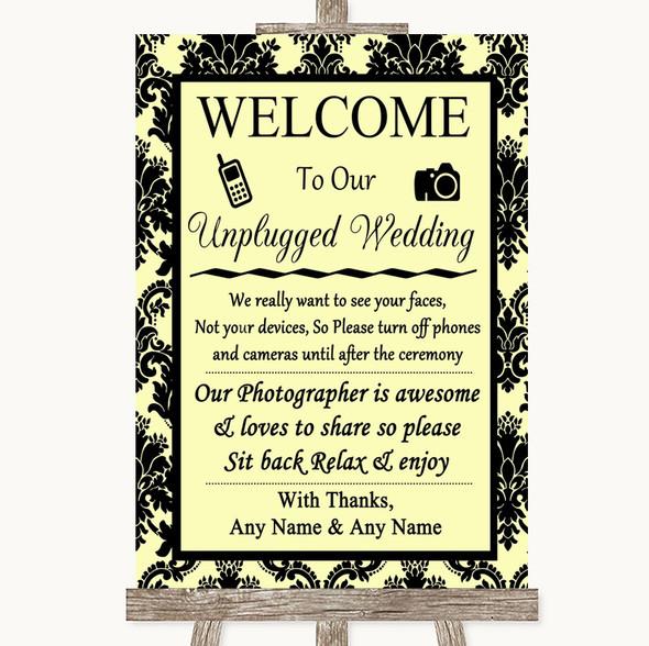 Yellow Damask No Phone Camera Unplugged Personalised Wedding Sign