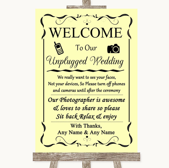 Yellow No Phone Camera Unplugged Personalised Wedding Sign