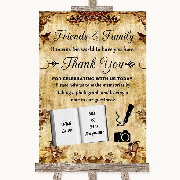 Autumn Vintage Photo Guestbook Friends & Family Personalised Wedding Sign