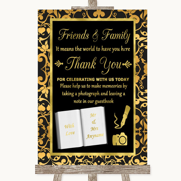 Black & Gold Damask Photo Guestbook Friends & Family Personalised Wedding Sign