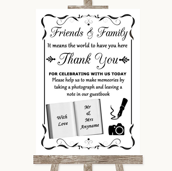 Black & White Photo Guestbook Friends & Family Personalised Wedding Sign
