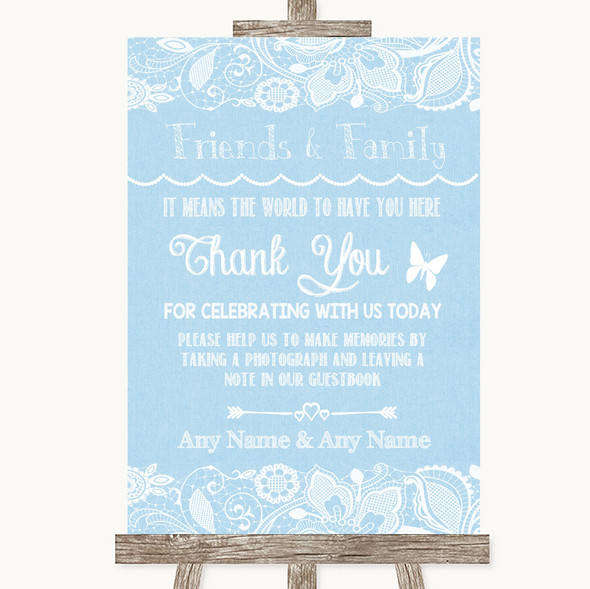 Blue Burlap & Lace Photo Guestbook Friends & Family Personalised Wedding Sign