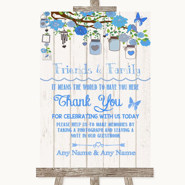 Blue Rustic Wood Photo Guestbook Friends & Family Personalised Wedding Sign