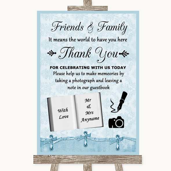 Blue Shabby Chic Photo Guestbook Friends & Family Personalised Wedding Sign