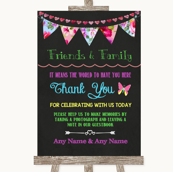 Bright Bunting Chalk Photo Guestbook Friends & Family Personalised Wedding Sign