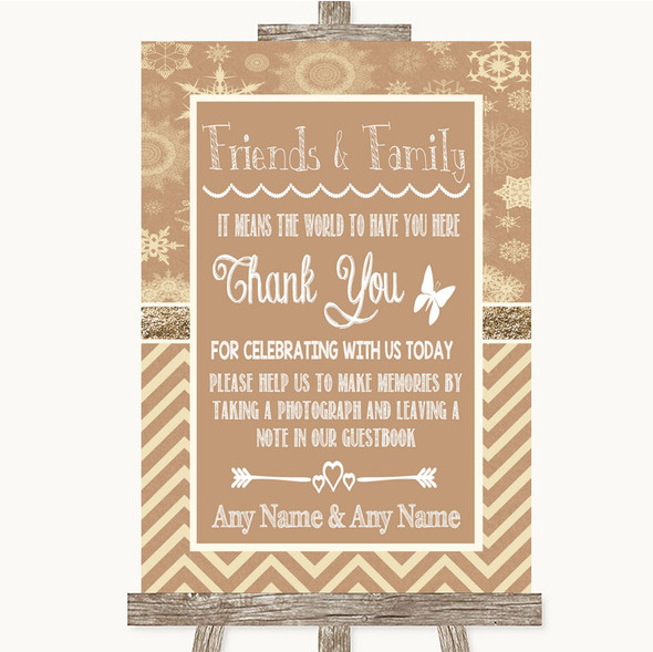 Brown Winter Photo Guestbook Friends & Family Personalised Wedding Sign