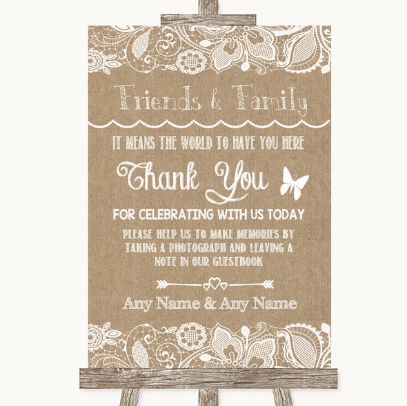 Burlap & Lace Photo Guestbook Friends & Family Personalised Wedding Sign