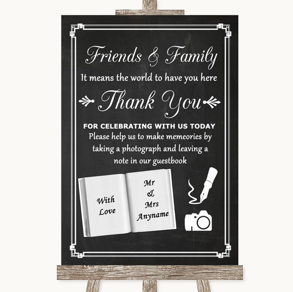Chalk Style Photo Guestbook Friends & Family Personalised Wedding Sign