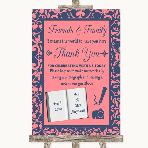 Coral Pink & Blue Photo Guestbook Friends & Family Personalised Wedding Sign