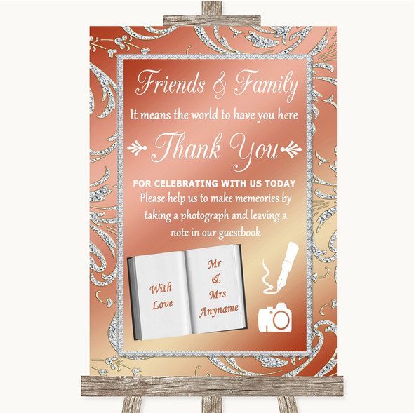 Coral Pink Photo Guestbook Friends & Family Personalised Wedding Sign