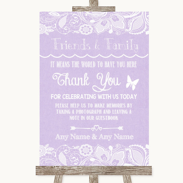 Lilac Burlap & Lace Photo Guestbook Friends & Family Personalised Wedding Sign