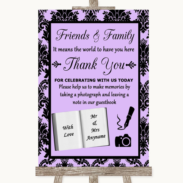 Lilac Damask Photo Guestbook Friends & Family Personalised Wedding Sign
