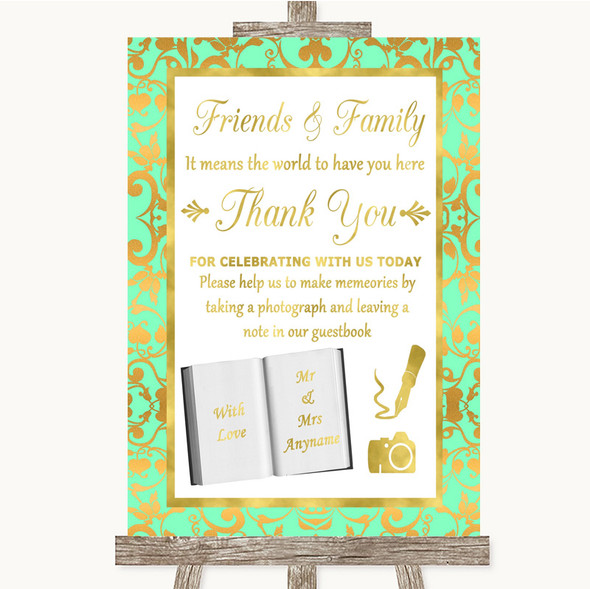 Mint Green & Gold Photo Guestbook Friends & Family Personalised Wedding Sign