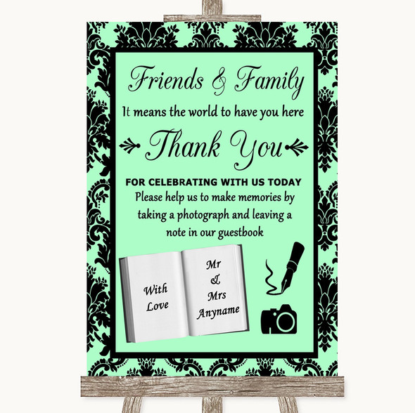 Mint Green Damask Photo Guestbook Friends & Family Personalised Wedding Sign