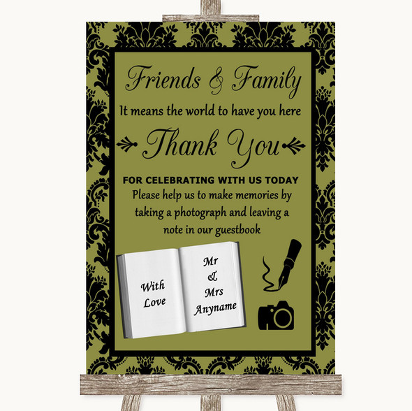 Olive Green Damask Photo Guestbook Friends & Family Personalised Wedding Sign
