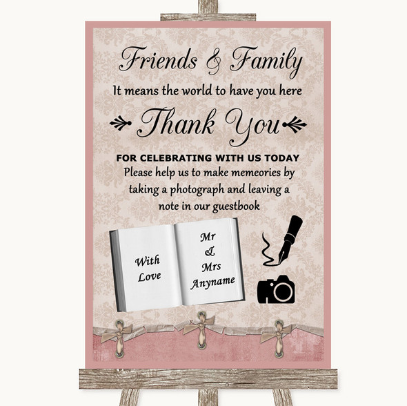Pink Shabby Chic Photo Guestbook Friends & Family Personalised Wedding Sign