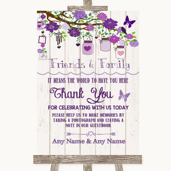 Purple Rustic Wood Photo Guestbook Friends & Family Personalised Wedding Sign
