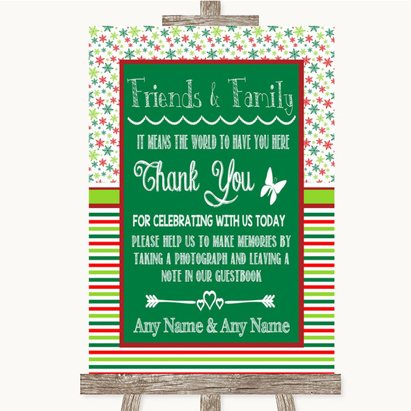 Red & Green Winter Photo Guestbook Friends & Family Personalised Wedding Sign