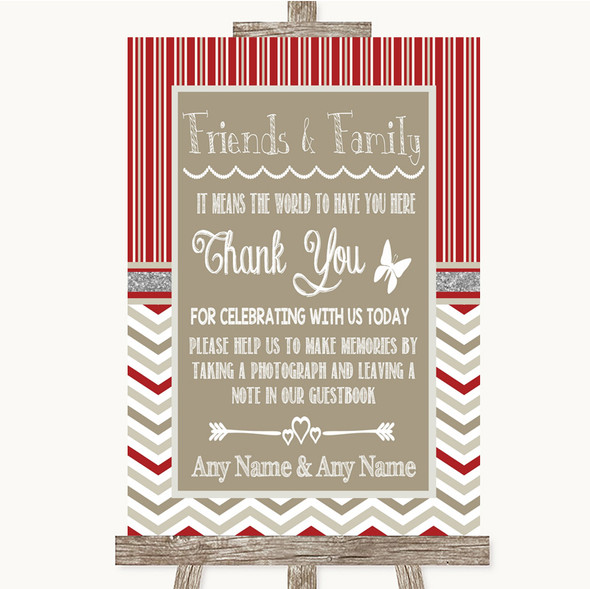 Red & Grey Winter Photo Guestbook Friends & Family Personalised Wedding Sign