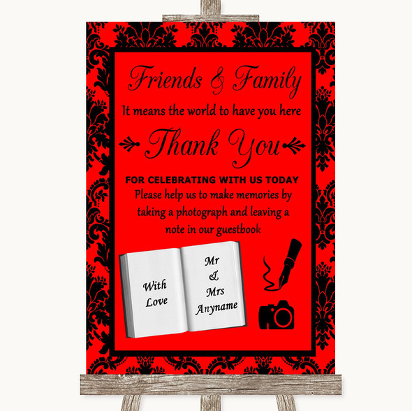 Red Damask Photo Guestbook Friends & Family Personalised Wedding Sign