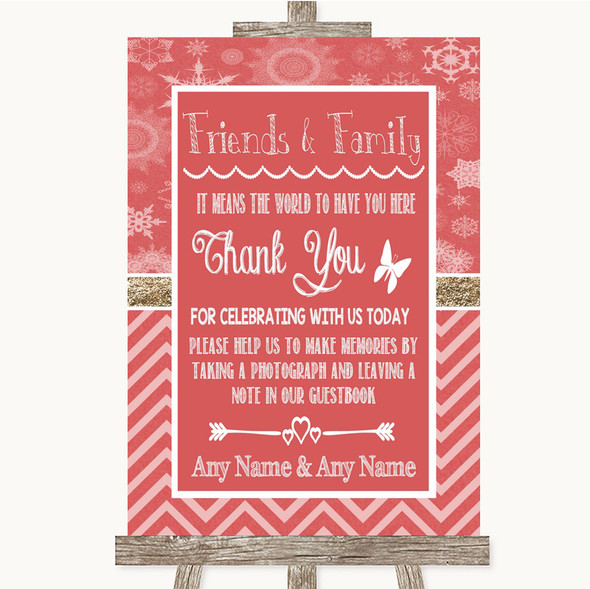 Red Winter Photo Guestbook Friends & Family Personalised Wedding Sign
