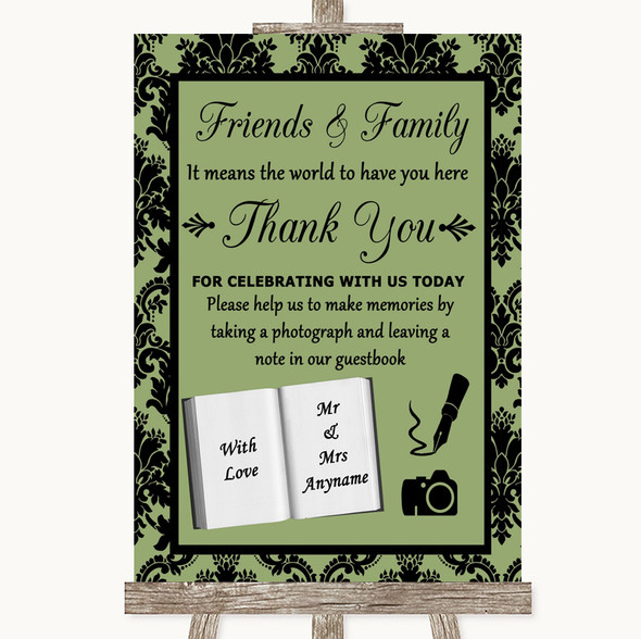 Sage Green Damask Photo Guestbook Friends & Family Personalised Wedding Sign