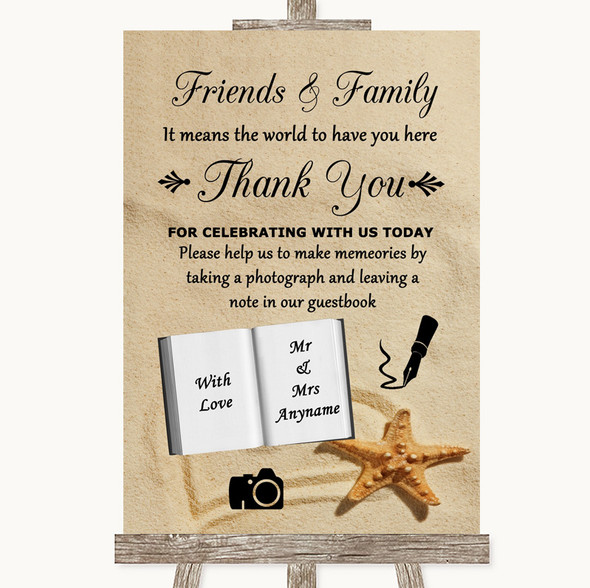 Sandy Beach Photo Guestbook Friends & Family Personalised Wedding Sign