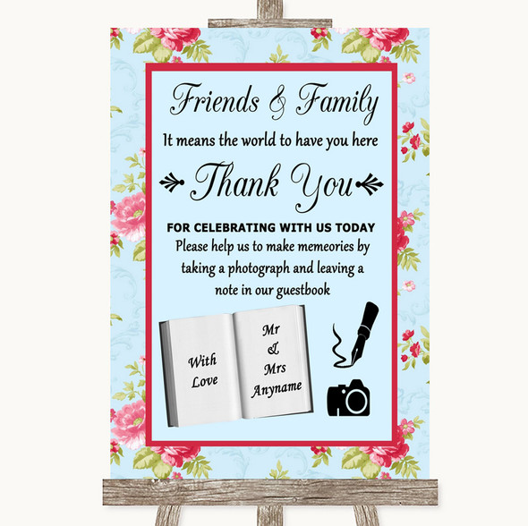Shabby Chic Floral Photo Guestbook Friends & Family Personalised Wedding Sign