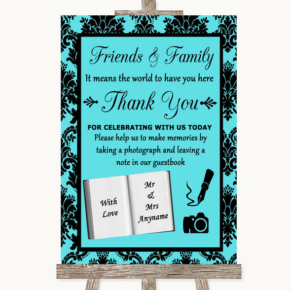 Tiffany Blue Damask Photo Guestbook Friends & Family Personalised Wedding Sign