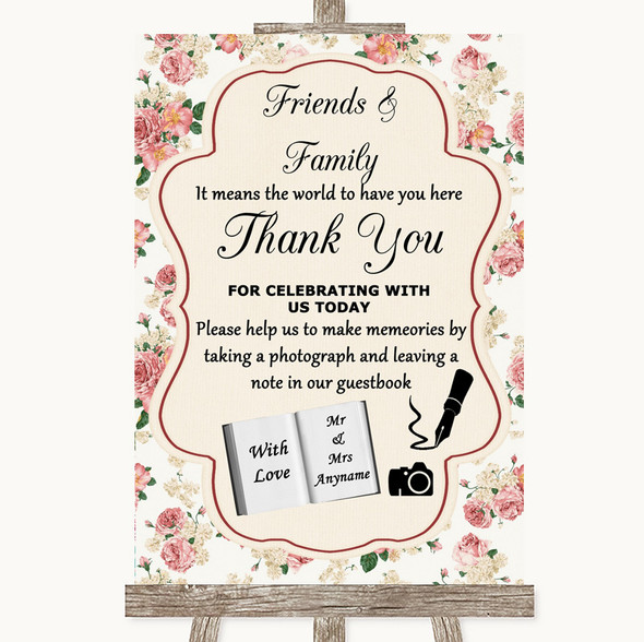 Vintage Roses Photo Guestbook Friends & Family Personalised Wedding Sign