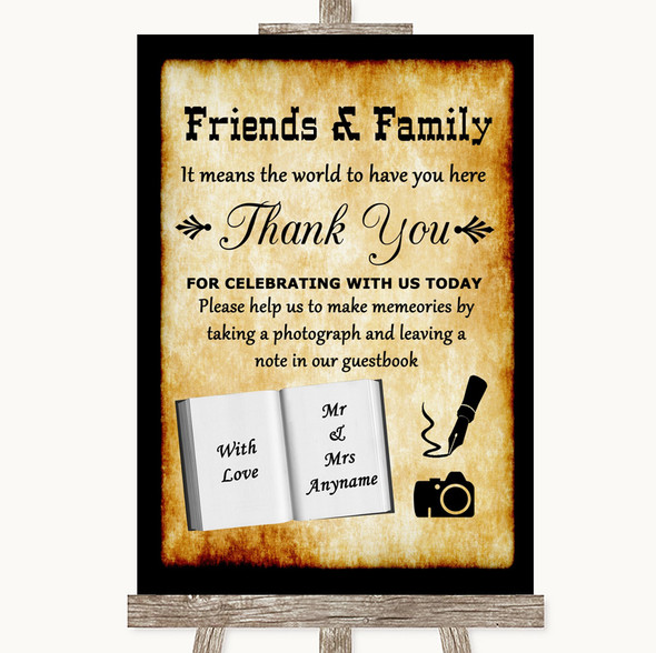 Western Photo Guestbook Friends & Family Personalised Wedding Sign