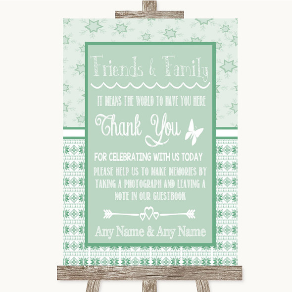 Winter Green Photo Guestbook Friends & Family Personalised Wedding Sign