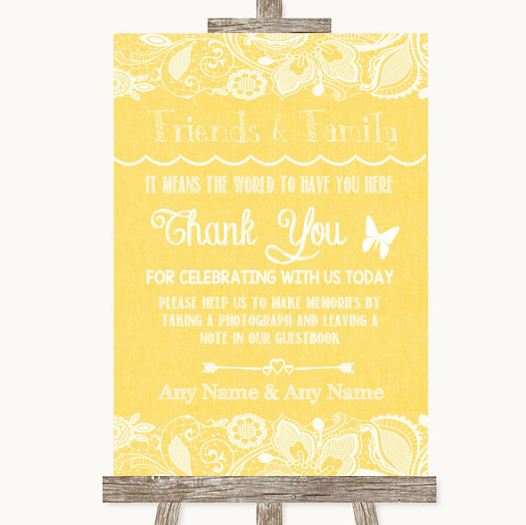 Yellow Burlap & Lace Photo Guestbook Friends & Family Personalised Wedding Sign