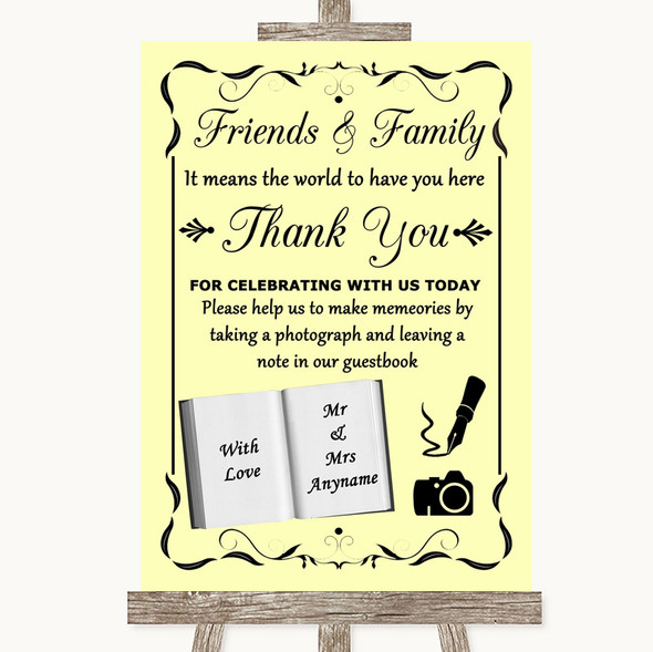 Yellow Photo Guestbook Friends & Family Personalised Wedding Sign