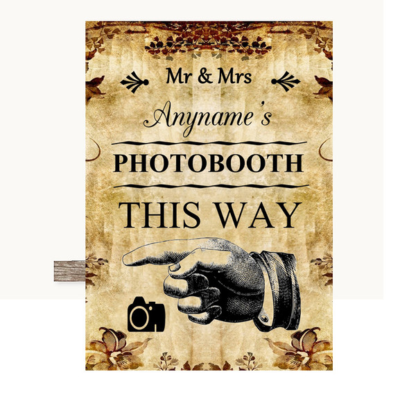 Autumn Vintage Photobooth This Way Left Personalised Wedding Sign