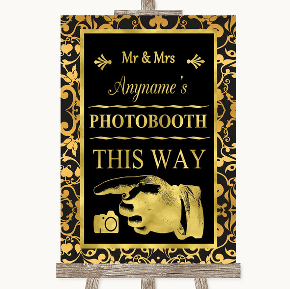 Black & Gold Damask Photobooth This Way Left Personalised Wedding Sign