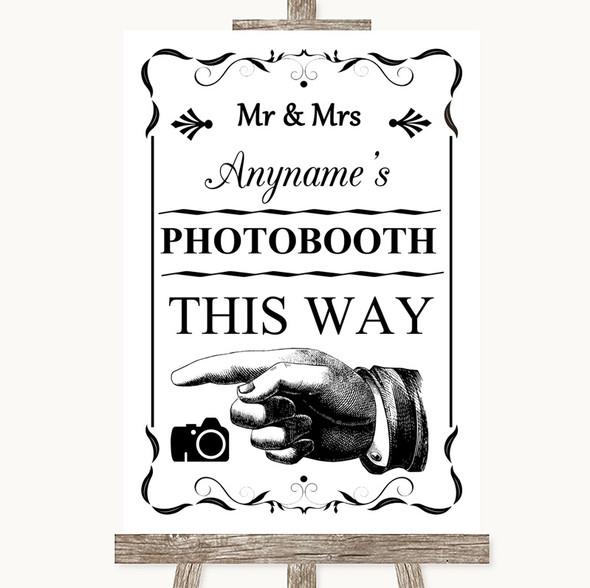 Black & White Photobooth This Way Left Personalised Wedding Sign