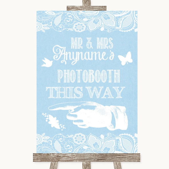 Blue Burlap & Lace Photobooth This Way Left Personalised Wedding Sign