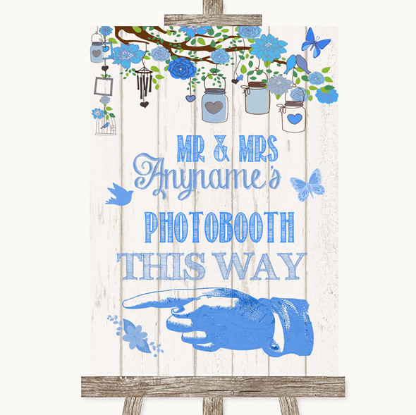Blue Rustic Wood Photobooth This Way Left Personalised Wedding Sign