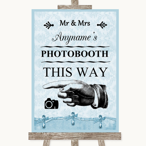 Blue Shabby Chic Photobooth This Way Left Personalised Wedding Sign